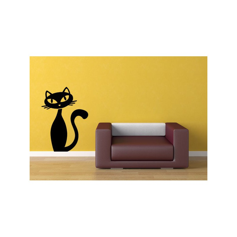 Vinilo decorativo de pared con la imagen de un gato for Vinilos pared originales