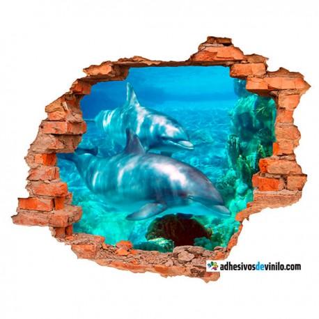Vinilos 3d - delfines