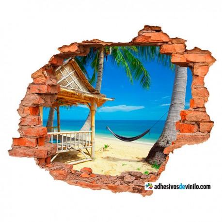 Vinilos 3d - playa hamaca