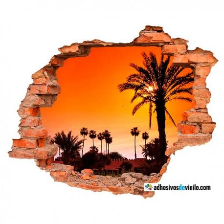 Vinilos 3d - atardecer palmera