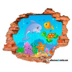 Vinilos 3d - acuario infantil