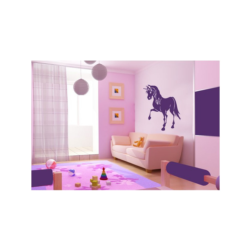 Vinilo infantil de un unicornio en movimiento for Vinilos decorativos pared infantiles