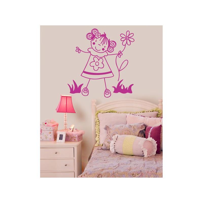 Vinilo infantil de una simp tica ni a con una flor for Vinilos infantiles nina
