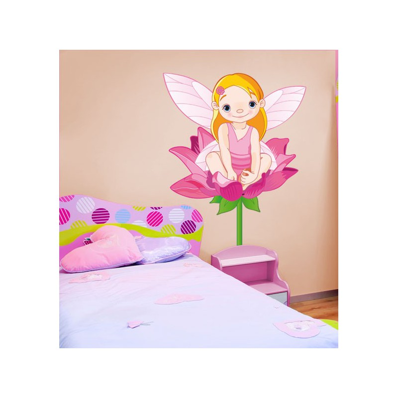 Vinilo infantil de una linda duendecilla sobre una flor for Vinilos juveniles nina
