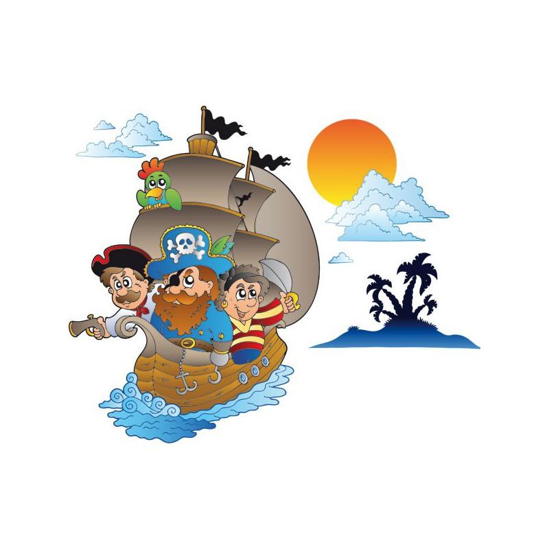 Vinilo infantil del barco pirata navegando en el Caribe c58bce9e93a