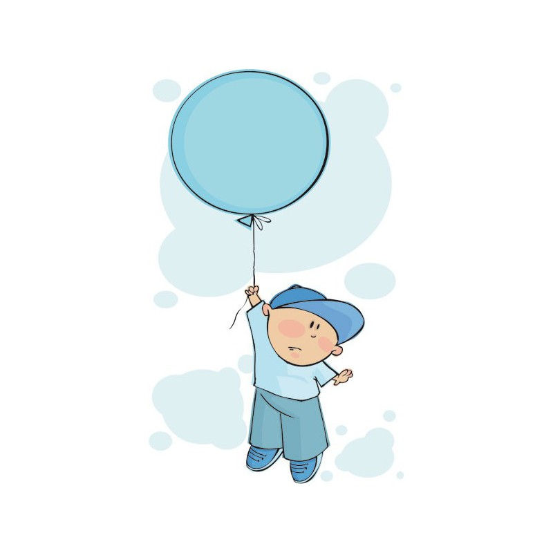 Vinilo infantil de un ni o en globo volando entre nubes for Vinilos para pared ninos