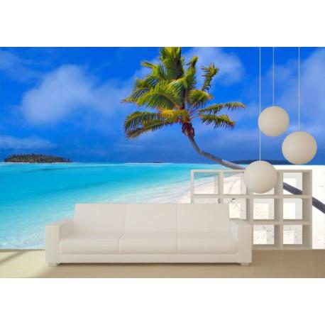 Fotomural de una hermosa playa con una gran palmera - Vinilos personalizados pared ...