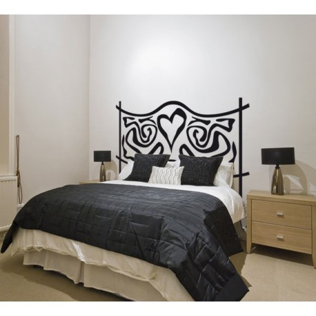 Vinilo decorativo de un cabecero de cama con coraz n - Vinilos decorativos cabecero ...