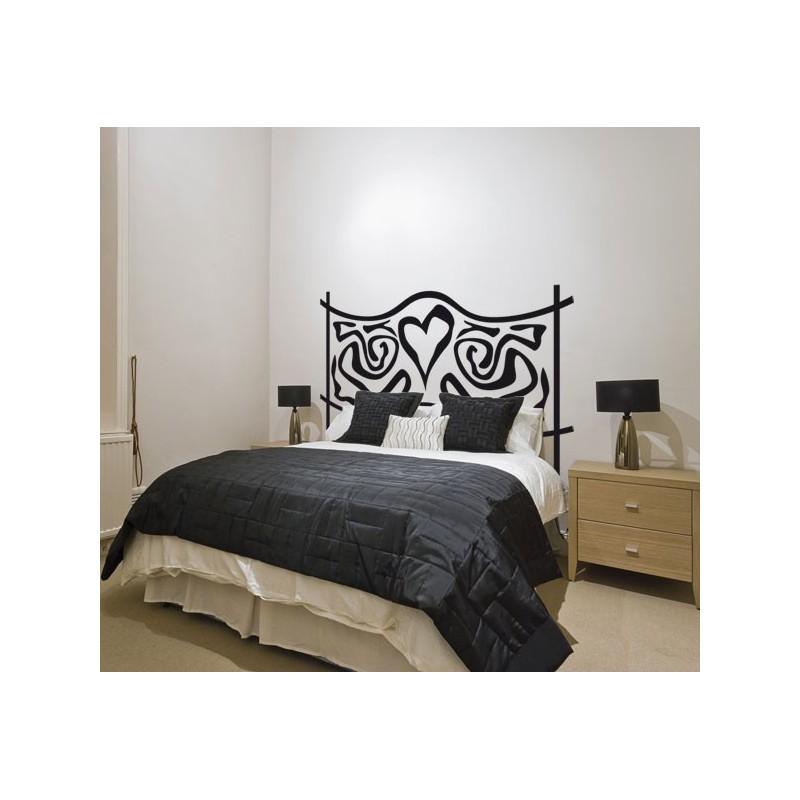 Vinilo decorativo de un cabecero de cama con coraz n - Cabeceros de camas originales ...