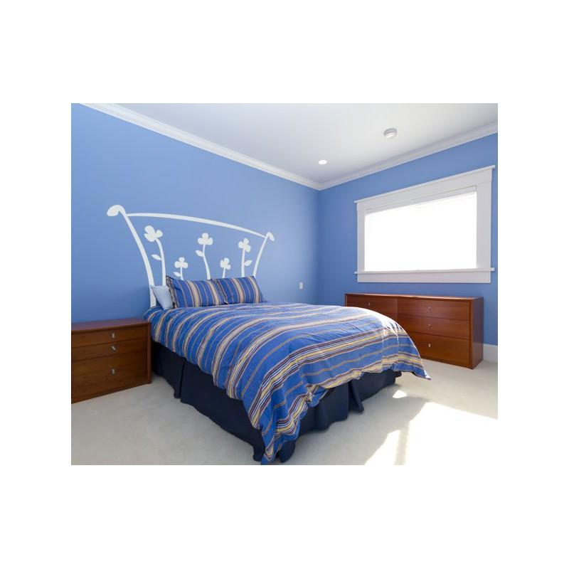 Vinilo de un original cabecero de cama con cinco flores - Cabecero de cama original ...