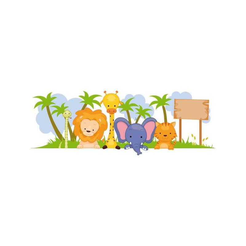 Vinilo infantil de los animales de la selva con nombre for Adhesivos pared infantil