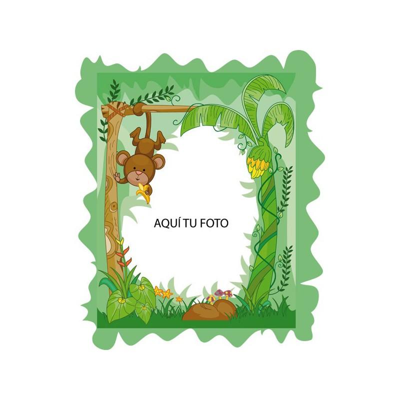 Vinilo infantil de marco con un gracioso mono colgando - Marcos decorativos ...