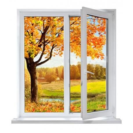 fotomural ventana otoño