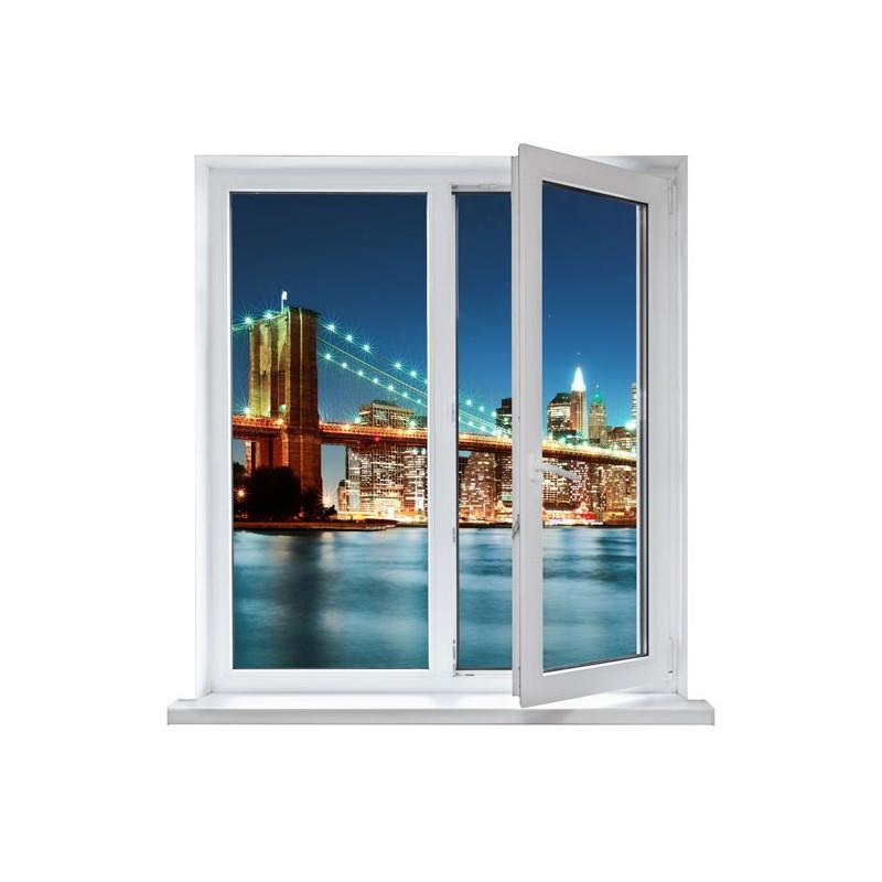 Fotomural de una ventana con un paisaje nocturno de la ciudad - Vinilos para ventanas ...