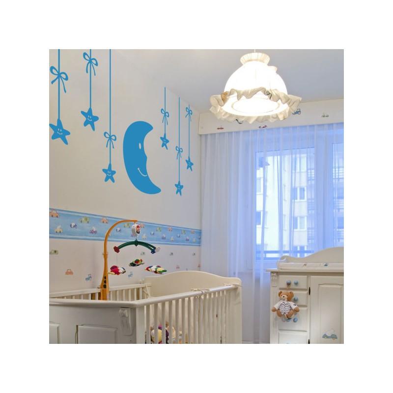 Vinilo infantil de beb s luna y estrellas en el cielo for Murales decorativos para bebes