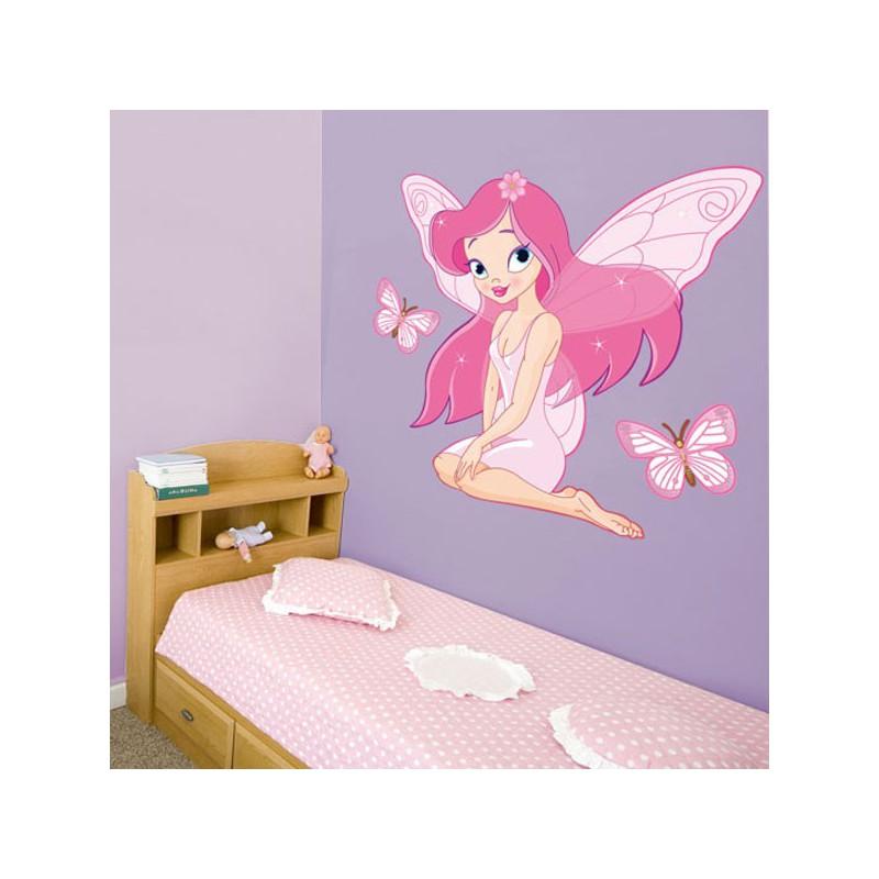 Vinilo decorativo infantil de una hada rosa para pared - Vinilos para habitaciones infantiles ...