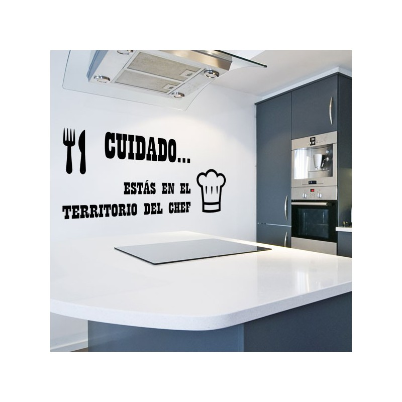 Vinilo de cocina con frase territorio del chef for Vinilos pared originales