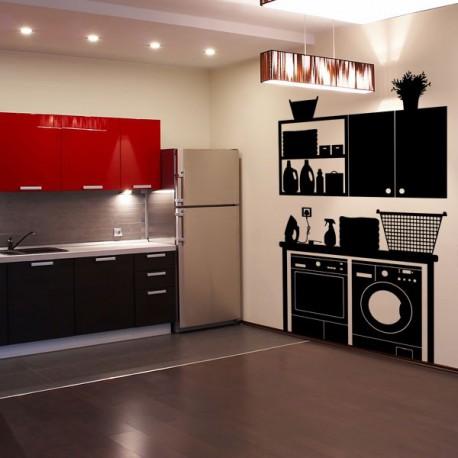 Vinilo decorativo con un mueble superior de cocina for Mueble pared cocina