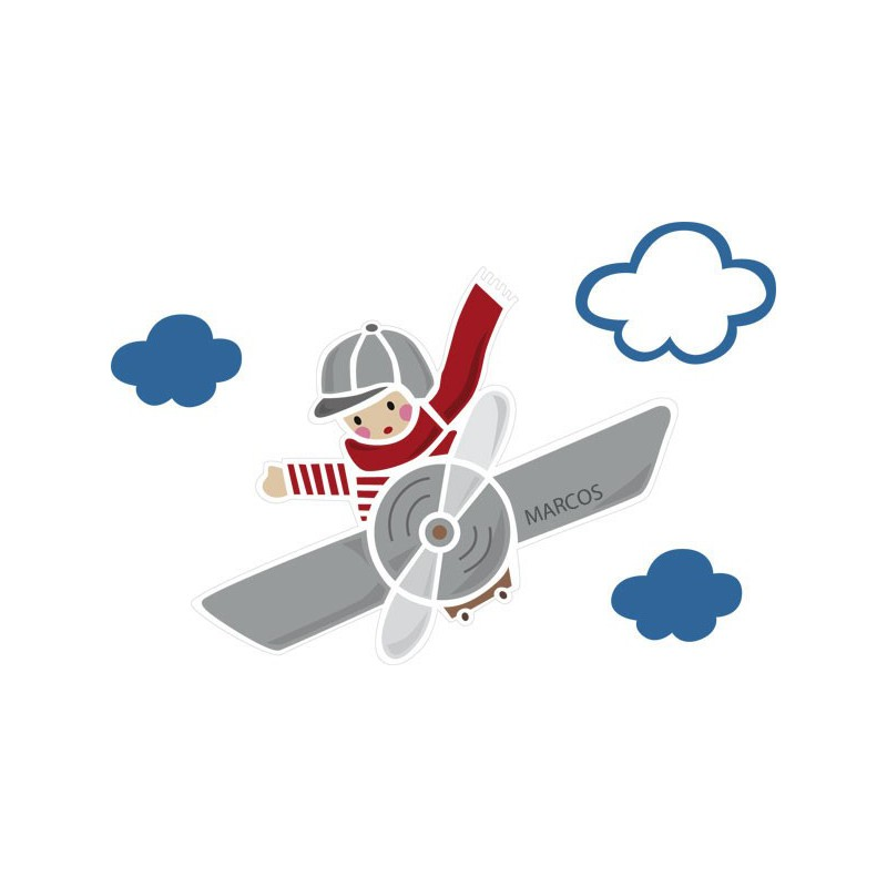 Vinilo infantil de un avioncito con ni o para pared for Vinilos para bebes nina