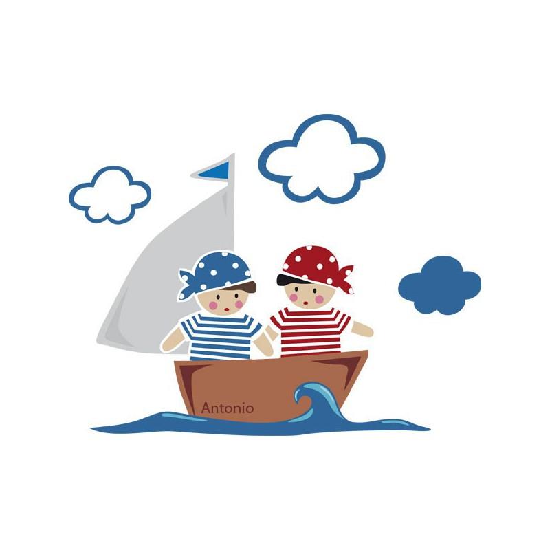 Vinilo infantil de un barquito navegando con dos ni os - Imagenes de barcos infantiles ...