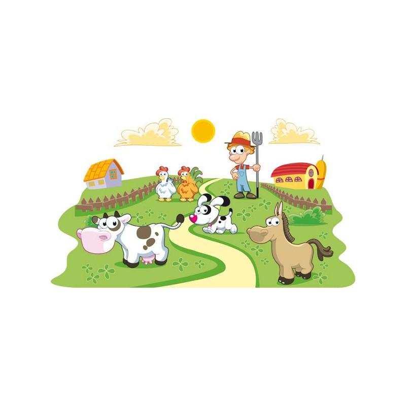 Vinilo infantil de pared de una granja y el granjero for Vinilos infantiles