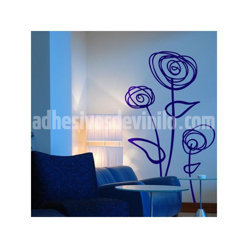Vinilo decorativo para pared de unas flores abstractas - Salones con vinilos decorativos ...