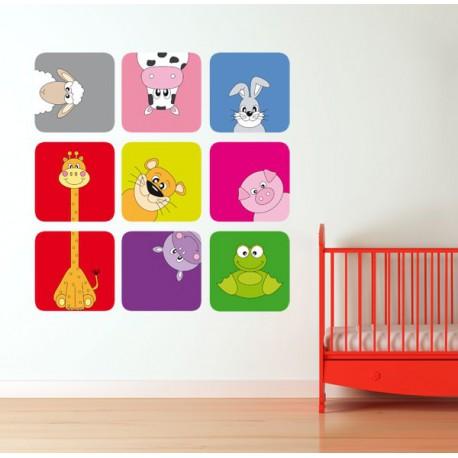 Vinilo infantil de uno animalitos asomando la cabeza - Vinilos para habitaciones de bebes ...