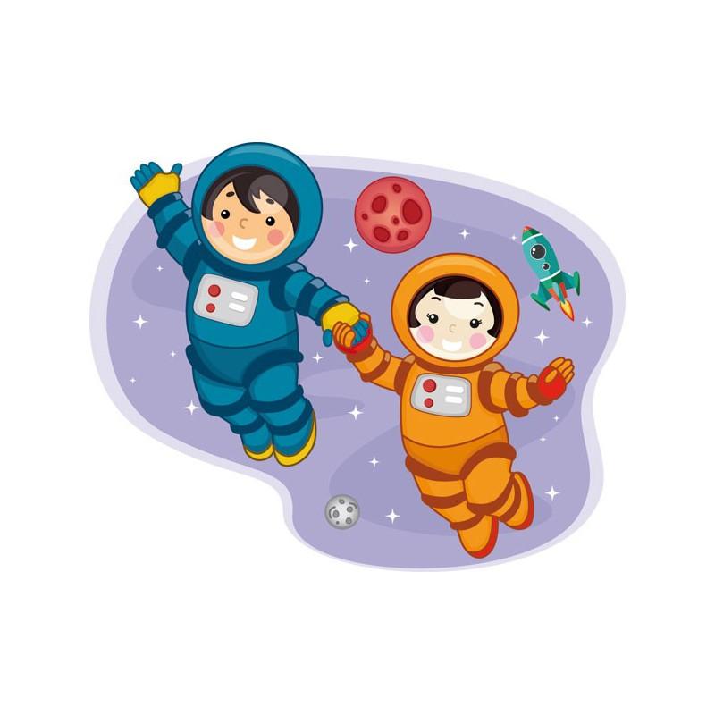 Vinilo infantil de j venes astronautas chico y chica - Dibujos infantiles del espacio ...