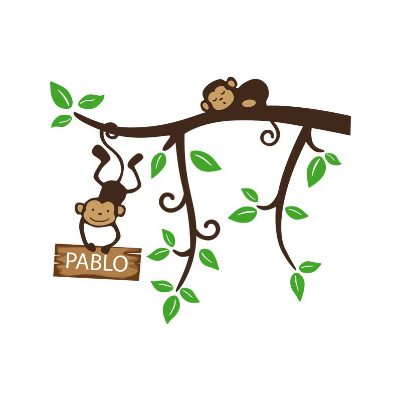 Vinilo infantil de una rama con unos graciosos monos - Dibujos en paredes infantiles ...