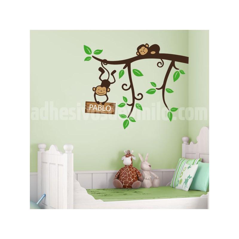 Vinilo infantil de una rama con unos graciosos monos for Adhesivos pared infantil